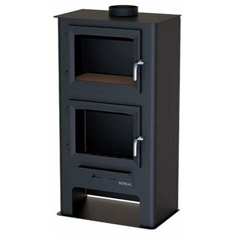 Estufa de leña con horno y leñero negra 7000W