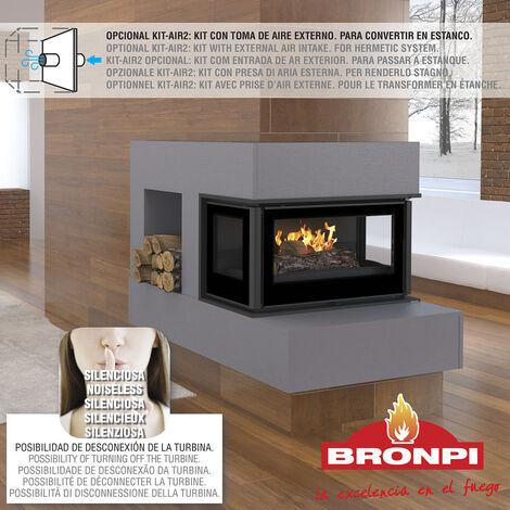 ESTUFA DE LEÑA INSERTABLE BRONPI MODELO PARIS-90- 3 CARAS VISION