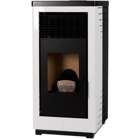 Estufa de pellet blanca 12,5kW Quadra