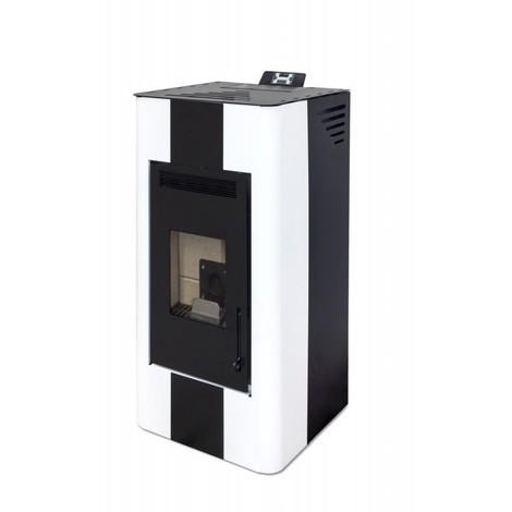 Estufa de Pellet ENERGY FIRE 15 KW Blanco y Negro - Eider Biomasa