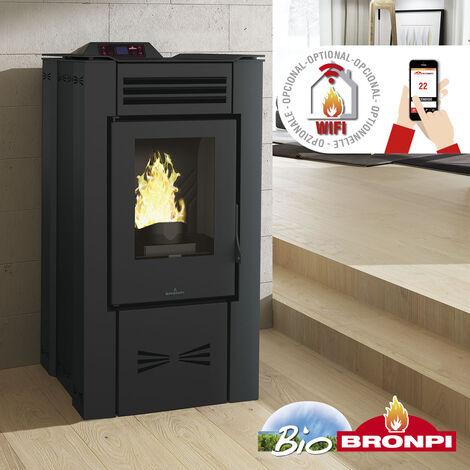 Estufa De Pellet EVA-NC 15 Kw Color Negro + Kit de tubería salida de humos y portes gratis