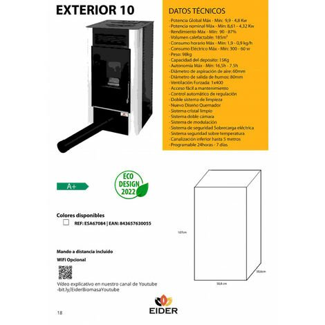 Estufa de Pellet IDRO 24 KW - Eider Biomasa