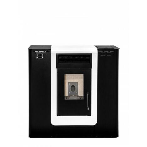 Estufa de Pellet PASILLO 10 KW CANALIZABLE Blanco y Negro - Eider Biomasa