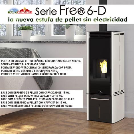 ESTUFA DE PELLET SIN ELECTRICIDAD BRONPI MODELO FREE 6 KW CON DEPOSITO MARFIL