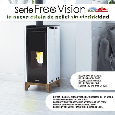 ESTUFA DE PELLET SIN ELECTRICIDAD BRONPI MODELO FREE 6 KW VISION MARFIL