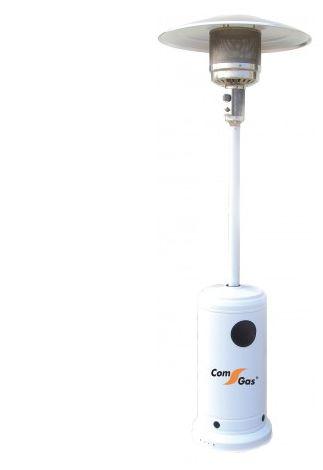 Estufa exteriores c/monomando. Color blanco. Potencia 9-15kw. Sombrero ø 80 cm. Equipa ruedas. Regulador + manguera incluido.