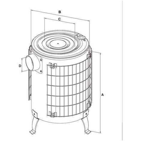 Estufa leña de aluminio sin parrilla interior y salida horizontal Theca 14 KW