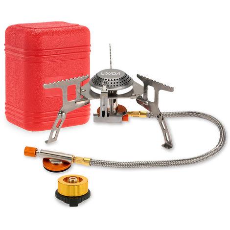 Estufa Lixada 3000W camping gas cocinar al aire libre plegable portatil de Split quemador con adaptador de cabezal de conversion de gas, 2 #