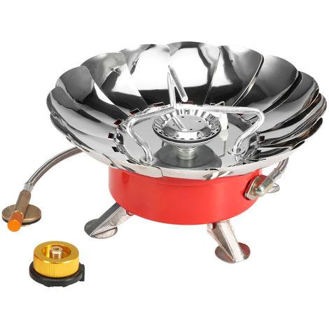 Estufa Lixada a prueba de viento encendido piezoelectrico de gas de cocinar al aire del mechero de gas con el tubo extendido para acampar, Estufa y adaptador