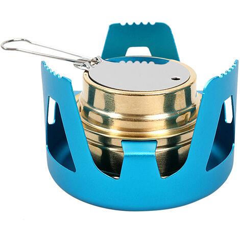 Estufa Mini alcohol con el soporte ligero de quemador para Backpacking que acampa yendo de pesca, Azul