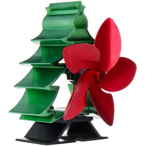 Estufa ventilador calor 5 cuchillas árbol de Navidad para estufa de leña chimenea verde Hasaki