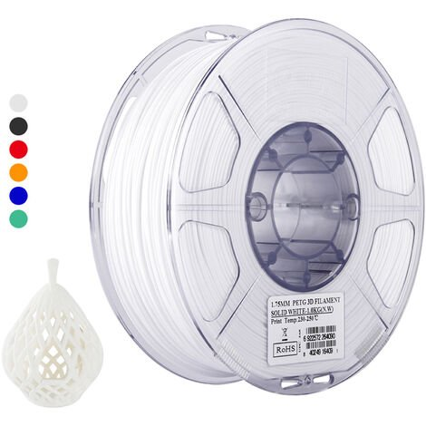 Esun Petg 1.75Mm 3D Printer Filament Impression Consommables Precision Dimensionnelle: +/- 0,05 Mm 1 Kg (2.2Lb) Spool Materiel Recharges Solide, Blanc
