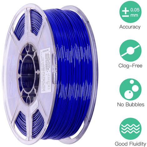 Esun Petg 1.75Mm 3D Printer Filament Impression Consommables Precision Dimensionnelle: +/- 0,05 Mm 1 Kg (2.2Lb) Spool Materiel Recharges Solide, Bleu