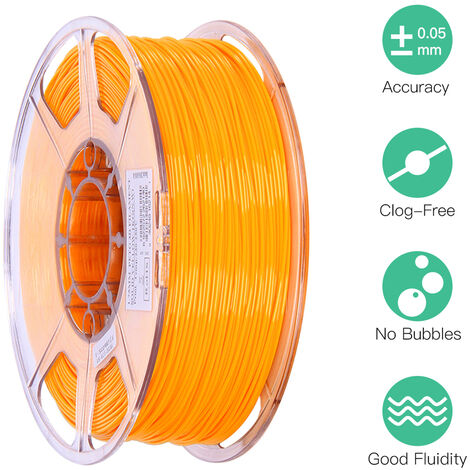 Esun Petg 1.75Mm 3D Printer Filament Impression Consommables Precision Dimensionnelle: +/- 0,05 Mm 1 Kg (2.2Lb) Spool Materiel Recharges Solide, Jaune