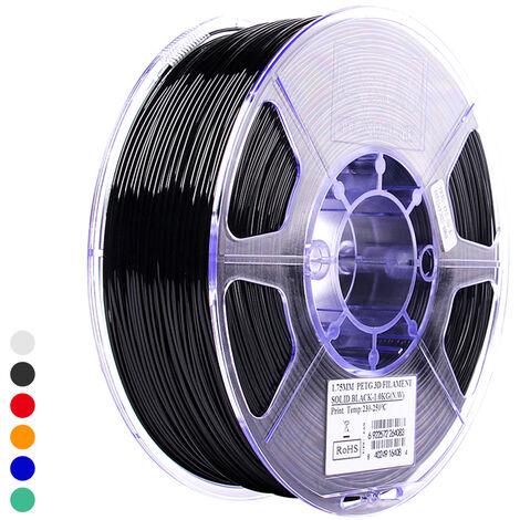 Esun Petg 1.75Mm 3D Printer Filament Impression Consommables Precision Dimensionnelle: +/- 0,05 Mm 1 Kg (2.2Lb) Spool Materiel Recharges Solide, Noir