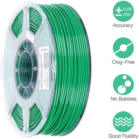 Esun Petg 1.75Mm 3D Printer Filament Impression Consommables Precision Dimensionnelle: +/- 0,05 Mm 1 Kg (2.2Lb) Spool Materiel Recharges Solide, Vert