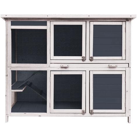 Étable pour lapins avec escalier et deux niveaux Maison pour lapins avec plancher extensible