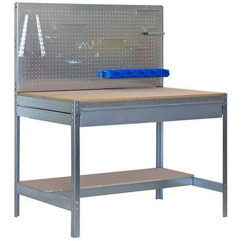Etabli 2 niv./panneau/1 tiroir 850 Kg L. 1210 x Ht. 1445 x P. 610 mm KIT SIMONWORK BT2 BOX 1200 - 778100945126012 - Simonwork - -