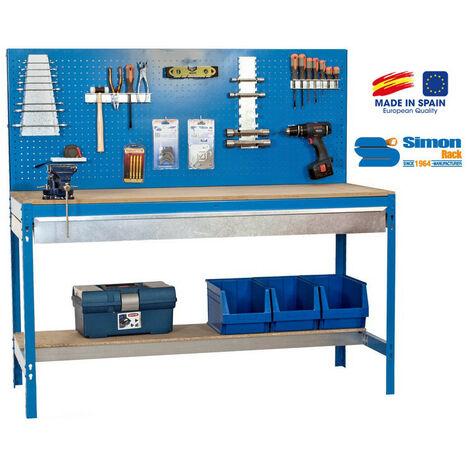 Etabli 2 niv./panneau/1 tiroir 850 Kg L. 1510 x Ht. 1445 x P. 610 mm KIT SIMONWORK BT2 BOX 1500 - 338100945156012 - Simonwork - -