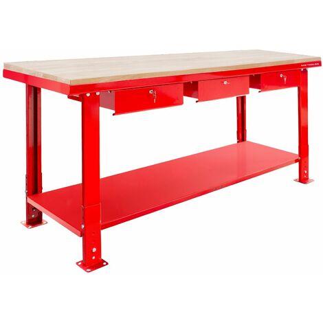 Établi 200 cm avec pieds réglables plateau MDF 3 tiroirs MW-Tools DER2000PW