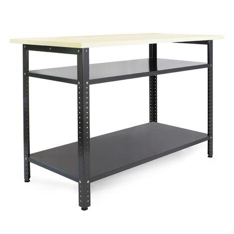 "main image of ""Établi atelier 120x60x85cm Plan travail Table emballage Rangement outils Garage Bricolage Cave"""