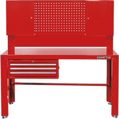 Etabli atelier 3 tiroirs + panneau perforé + 2 armoires