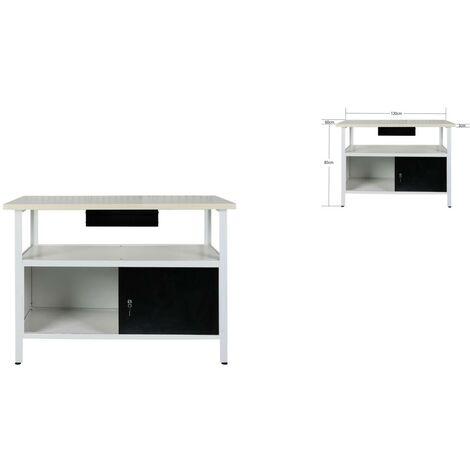 Établi atelier / Plan de travail + tiroir 120x60x85 cm - Bois et Acier