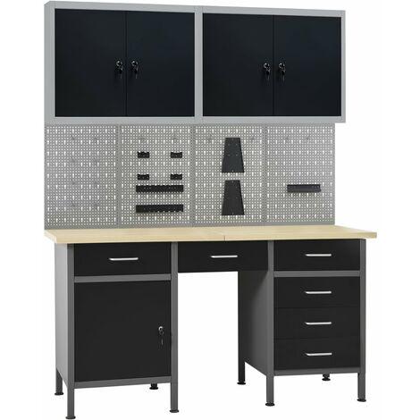 Établi avec 4 panneaux muraux et 2 armoires