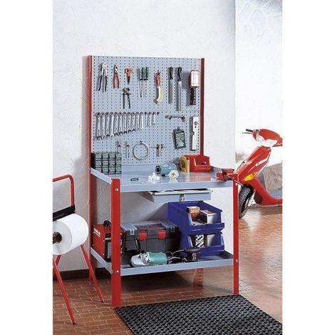 Etabli avec panneau perforé bicolore (Grgio - Rouge) dim 100x70x190 H