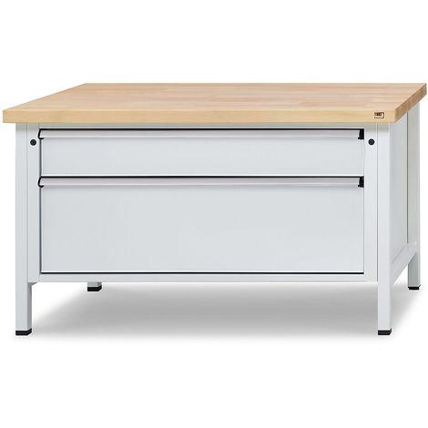 Etabli avec tiroirs de format XL/XXL - largeur 1500 mm, 3 tiroirs - plateau universel, façade bleu gentiane - Coloris corps: gris clair RAL 7035