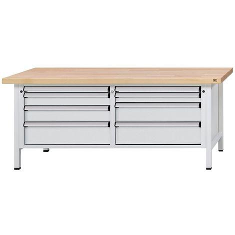 Etabli avec tiroirs de format XL/XXL - largeur 2000 mm, 8 tiroirs - plateau à revêtement en tôle d'acier, façade gris