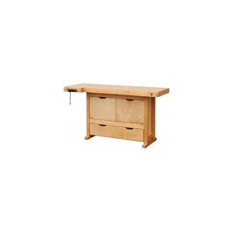 Etabli bois 1 tiroir 2 portes - H 0,82 x l 0,50 x L 1,50 m