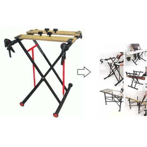 Etabli d'atelier multifonction pliable / réglable sur 4 hauteurs