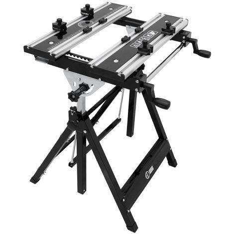 Établi de travail multifonctionnel table réglable pliable en aluminium et acier