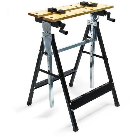 Établi de travail Pliante 62,5x60,5x84,5-115,5cm avec Porte-outils échelle graduée et angulaire