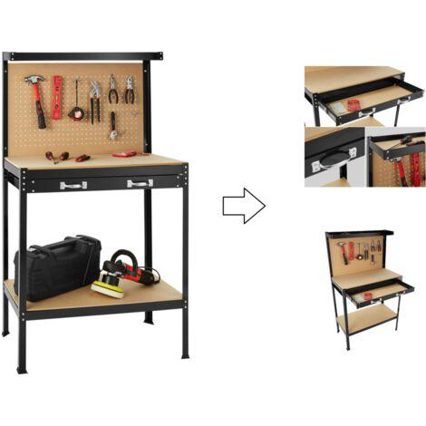 Établi d'atelier / Table travail avec paroi perforée 80 x 50 x 140 cm
