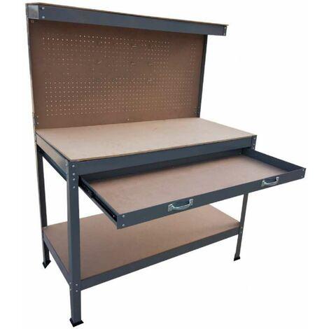 Établi en métal avec étagères, tiroir et panneau Werkapro