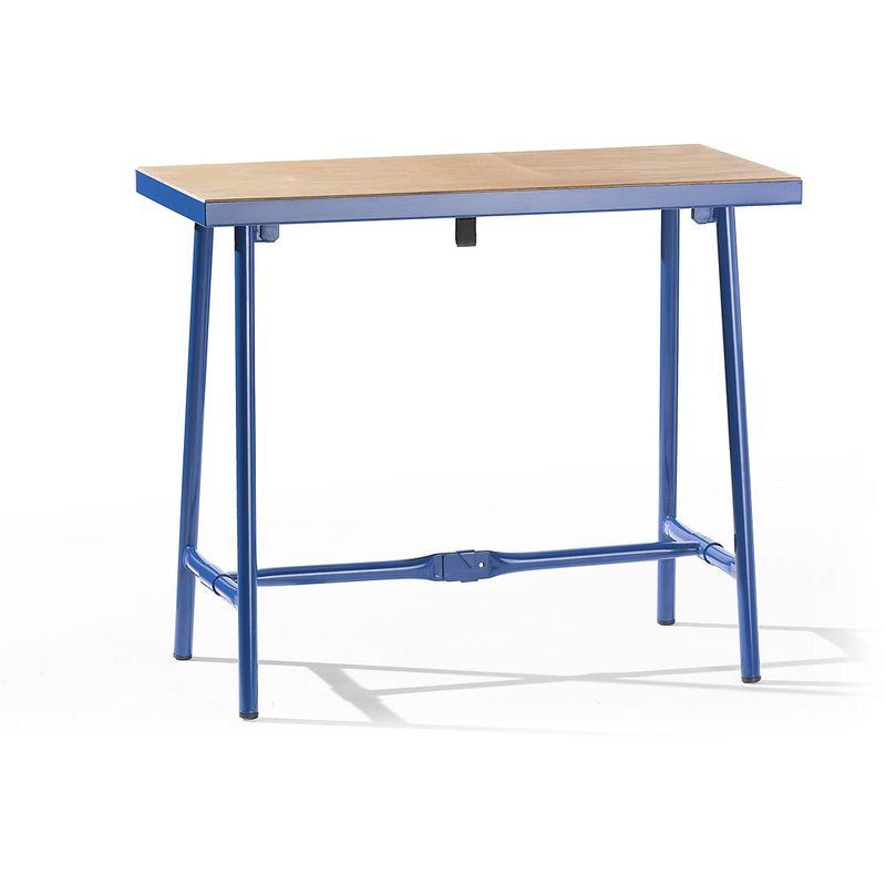 Etabli pliant - l x p 1000 x 500 mm - charge max. 120 kg - Coloris piétement: Bleu gentiane RAL 5010