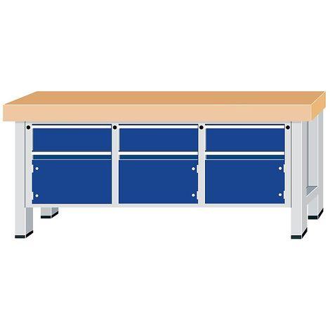 Etabli pour charges lourdes - largeur plateau 2250 mm, avec 3 tiroirs et 3 portes battantes - épaisseur plateau 100 mm - Col. corps: gris clair |Col. façade: Bleu foncé