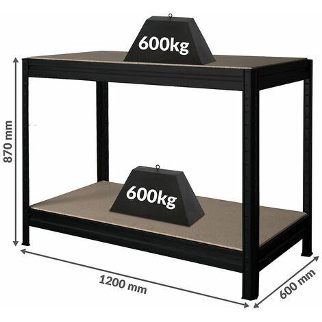 Établi réglable en hauteur | Charge max. 600 kg | HxLxP 870 x 1200 x 600 mm | Profondeur 60 cm | Noir - noir