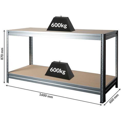 Établi réglable en hauteur | Charge max. 600 kg | HxLxP 870 x 1600 x 600 mm | Gris | Profondeur 60 cm - Argent