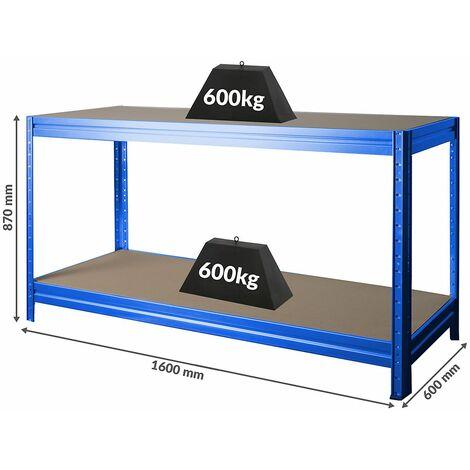 Établi réglable en hauteur | Charge max. 600 kg | HxLxP 870 x 1600 x 600 mm | Profondeur 60 cm | Bleu - bleu