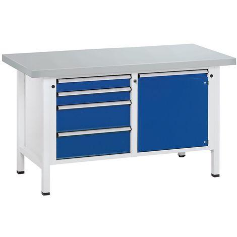 Etabli, stable - 4 tiroirs, porte 540 mm - revêtement en tôle d'acier, extraction partielle - Col. corps: gris clair |Col. façade: Bleu foncé