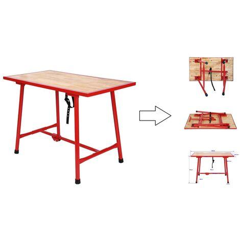 Etabli / table de travail pliable acier / bois - 120 x 62,5 cm