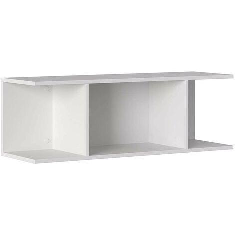 Etagère 100x30xh33 cm Blanc mat avec 3 compartiments série Stoccolma   Blanc