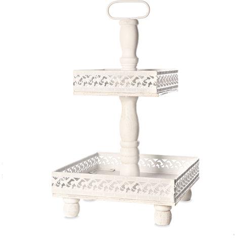 Etagere 2 floors Serving plate Shelves Metal White Vintage Standetagere XXL 51