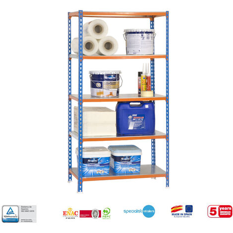 Etagère 5 niv. 900 Kg L. 800 x Ht. 1800 x P. 400 mm KIT SIMONCLICK MINI 5/400 BLEU/ORANGE/GALVA - 457100024188045 - Simonclick