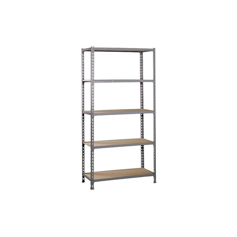 Etagère 5 niveaux 750 Kg L. 800 x Ht. 1800 x P. 300 mm KIT MADERCLICK MINI 5/300 GRIS FONCE/BOIS - 338100025188035 - Simonclick - -