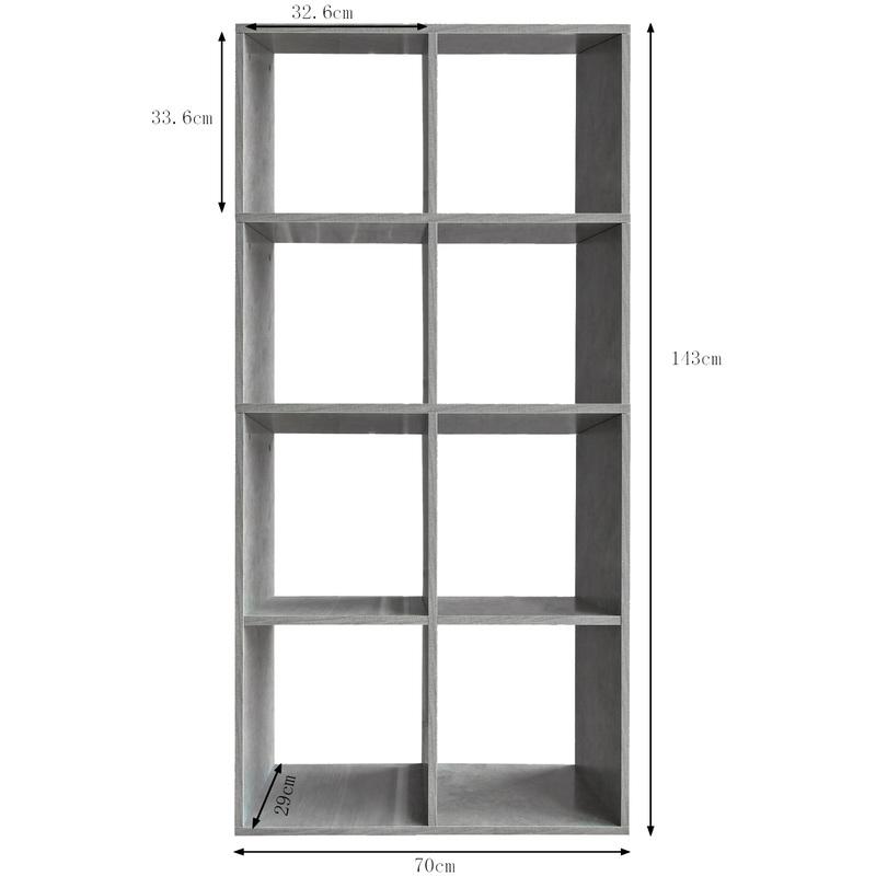 Etagere 8 Cases Couleur Grise Etagere Escalier Diviseur De Piece Bibliotheque Meuble Rangement 60233
