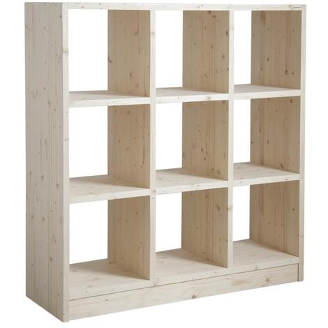 Etagère 9 cases en épicéa brut - Dim : 118 x 40 x 127 cm